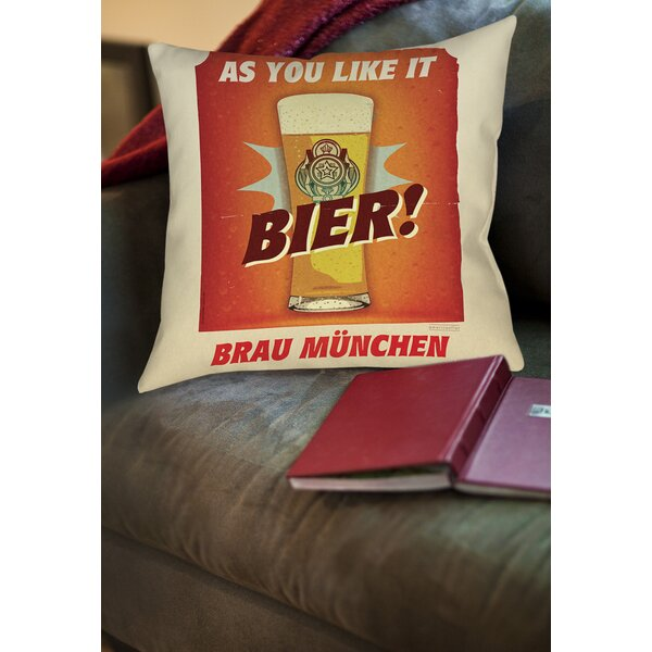 Bier Brau Munchen Printed Throw Pillow by Manual Woodworkers & Weavers