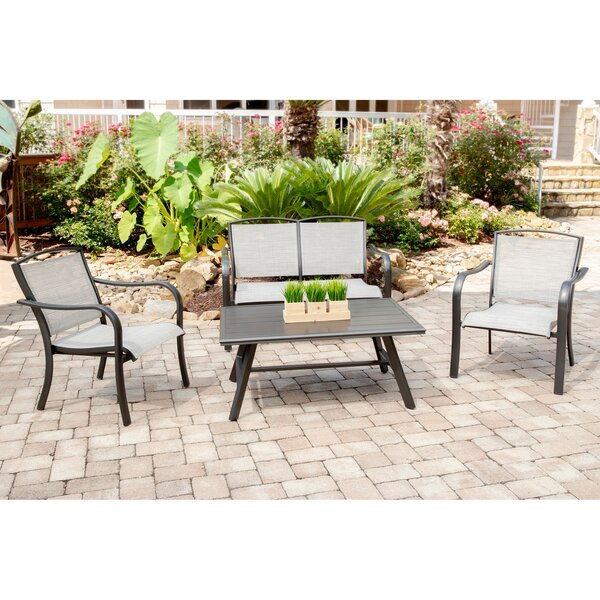 Wrenn 4-Piece Commercial-Grade Patio Seating Set with 2 Sling Lounge Chairs Sling Loveseat and a Slat-Top Coffee Table by Charlton Home