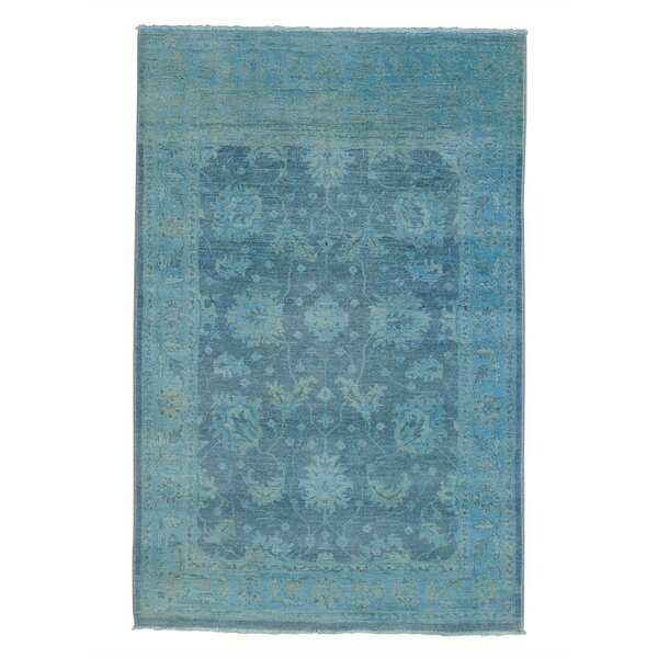 One-of-a-Kind Bagby Overdyed Cast Hand-Knotted Denim Blue Area Rug by Isabelline