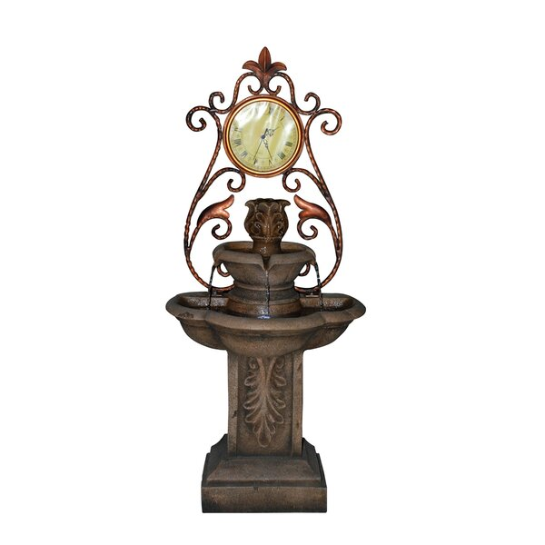 Polyresin Clock Fountain with LED Light by OK Lighting