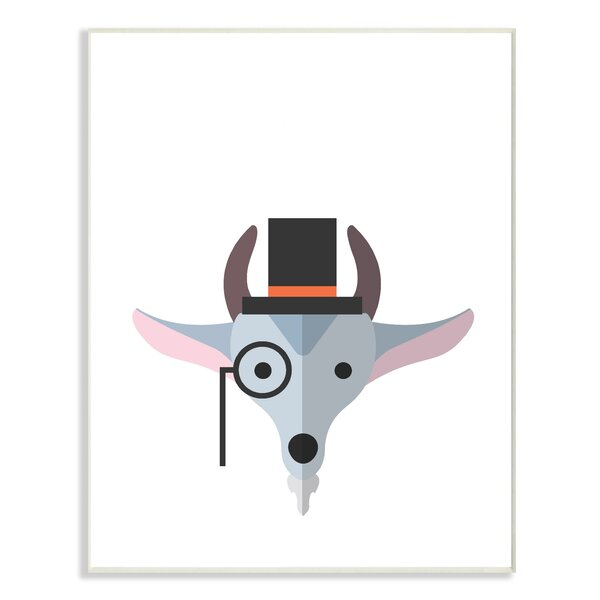 Hipster Goat Illustration Oversized Graphic Art Print by Stupell Industries