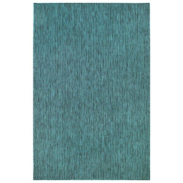 Desantiago Texture Stripe Teal Indoor/Outdoor Area Rug By Highland Dunes