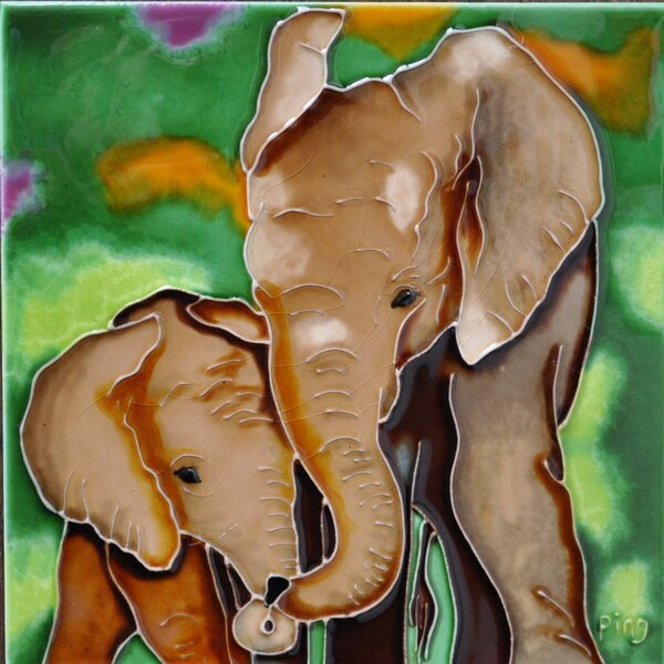 Mom and Baby Brown Elephant Tile Wall Decor by Continental Art Center