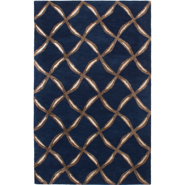 Helton Hand-Tufted Navy Blue Area Rug by Mercer41