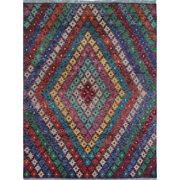 One-of-a-Kind Millender Adebola Hand-Knotted Wool Purple Area Rug by Bloomsbury Market