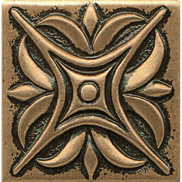 Ambiance Insert Rising Star 2 x 2 Resin Tile in Bronze by Bedrosians