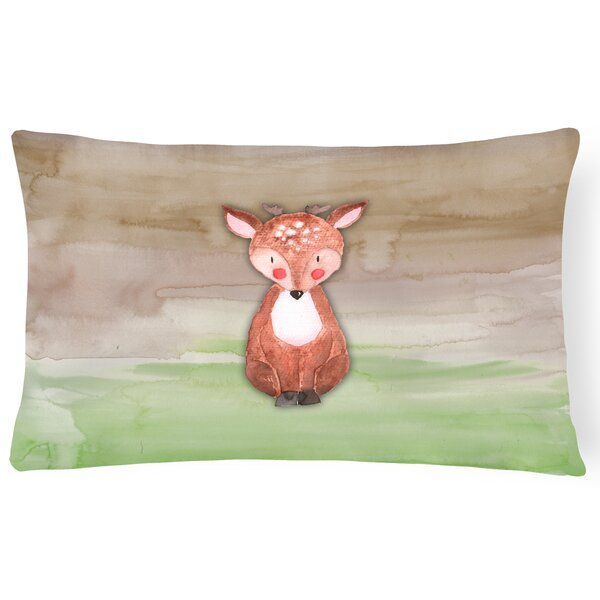 Wayne Baby Deer Watercolor Lumbar Pillow by Zoomie Kids