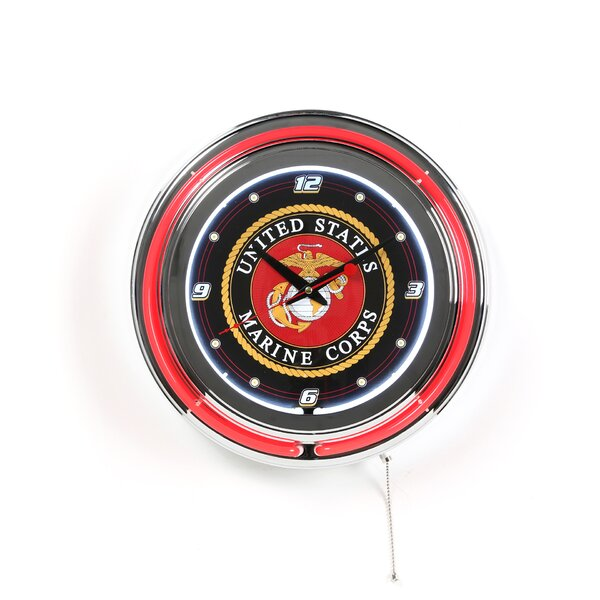 United States Marine Corps 14.5 Double Ring Neon Wall Clock by Trademark Global