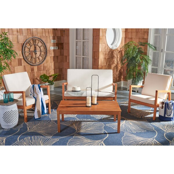 Yoselin 4 Piece Sofa Seating Group with Cushions by Rosecliff Heights