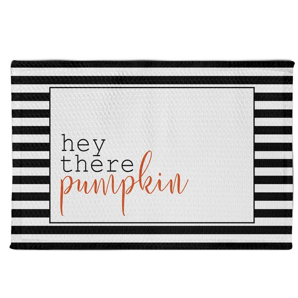 Siri Hey There Pumpkin Stripes Black/White Area Rug by The Holiday Aisle