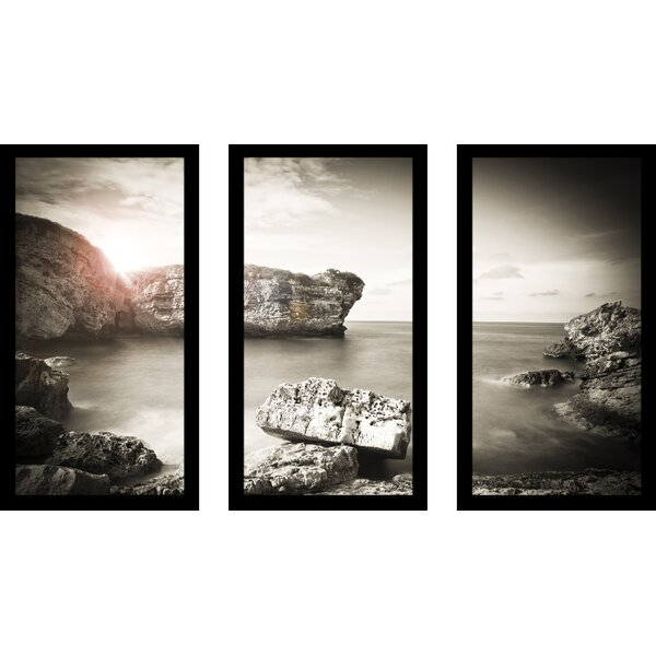 Ocean Sunset 3 Piece Framed Photographic Print Set by Picture Perfect International