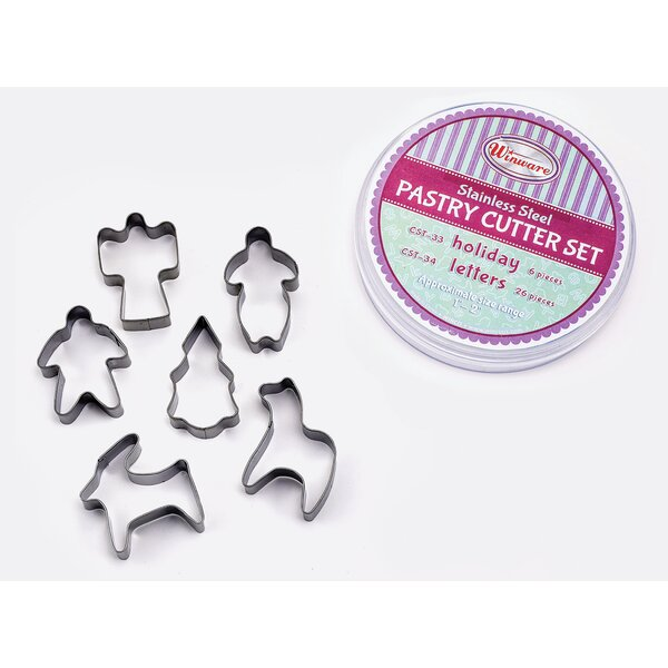 6 Piece Holiday Cookie Cutter Set by Winco
