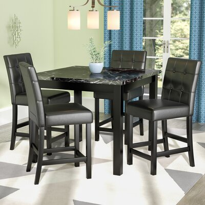 Sison 5 Piece Counter Height Dining Set Color: Black