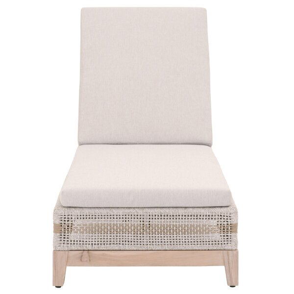 Gregg Reclining Teak Chaise Lounge with Cushion