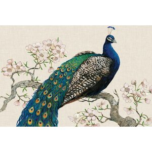 'Peacock & Blossoms I' Painting Print on Wrapped Canvas by East Urban Home