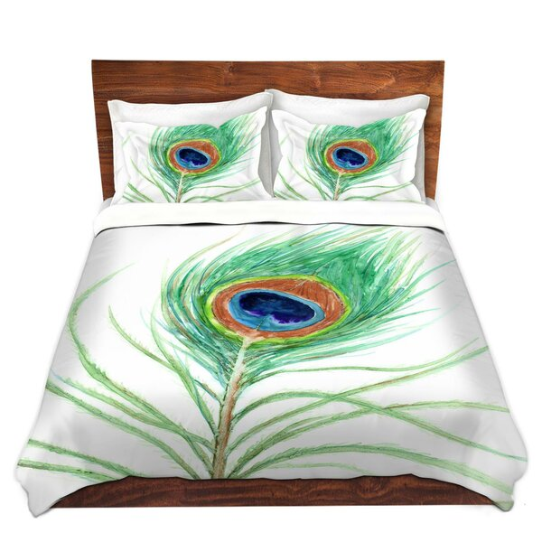 Peacock Feather Duvet Set by DiaNoche Designs