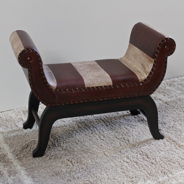 Miuccia Traditional Wood/Faux Leather Bench by Bloomsbury Market