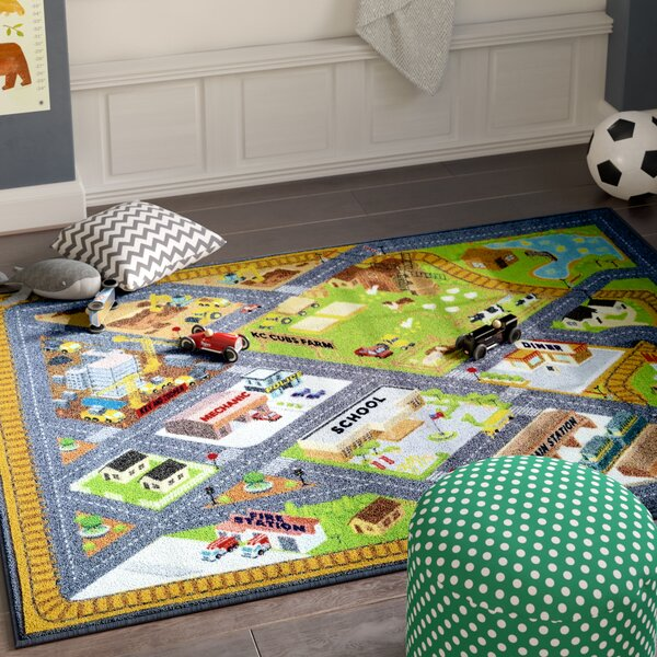 Haar Gray/Green Area Rug by Zoomie Kids