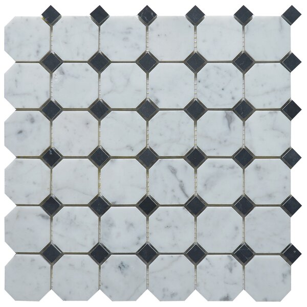 Random Sized Marble Mosaic Tile in Dot Black by Matrix Stone USA