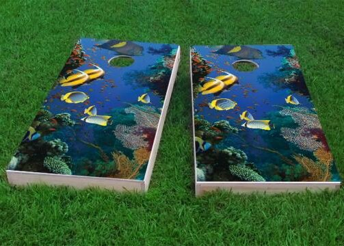 Coral Reef with Tropical Fish Cornhole Game (Set of 2) by Custom Cornhole Boards