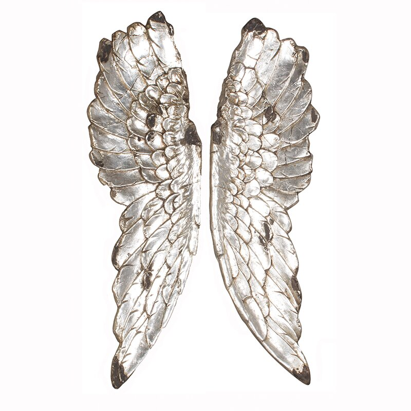 Charmant Poly Resin Angel Wings Wall Décor