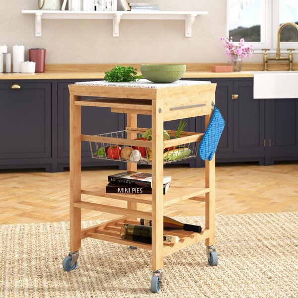 Ilana Kitchen Cart with Granite Top by August Grove