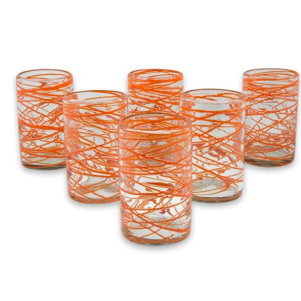 Tangerine Swirl 13 oz. Water Glass (Set of 6) by Novica