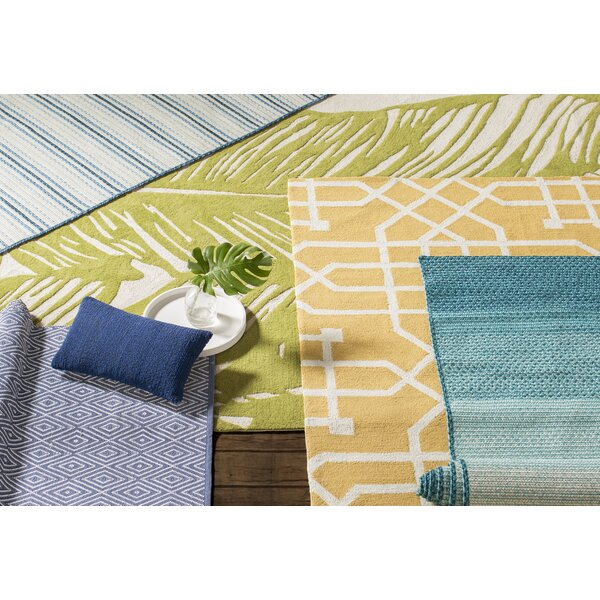 Staple Hill Hand-Tufted Stripe Blue Indoor/Outdoor Area Rug by Wrought Studio