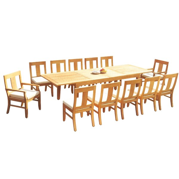 Efren 13 Piece Teak Dining Set by Rosecliff Heights