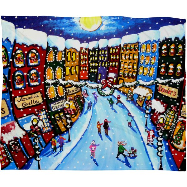 Renie Britenbucher Christmas Shoppers Plush Fleece Throw Blanket by Deny Designs
