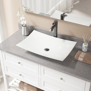 Top Reviews Vitreous China Rectangular Vessel Bathroom Sink with Faucet ByMR Direct
