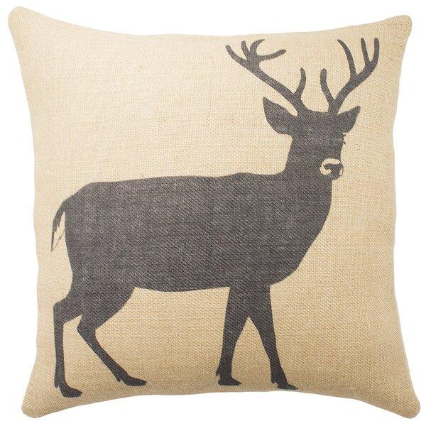 Deer Burlap Throw Pillow by TheWatsonShop
