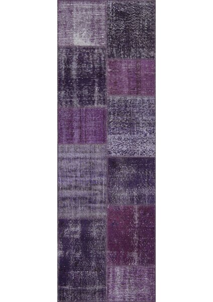 Jacquline Antique Patchwork Hand-Knotted Purple Area Rug