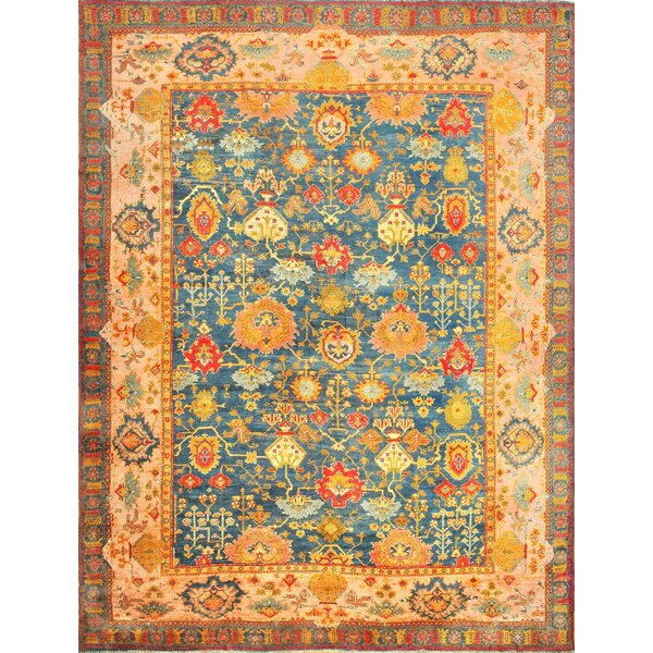 One-of-a-Kind Turkish Hand-Knotted Before 1900 Blue 14'3 x 19' Wool Area Rug