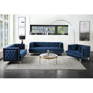 Harre 3 Piece Velvet Living Room Set by Everly Quinn