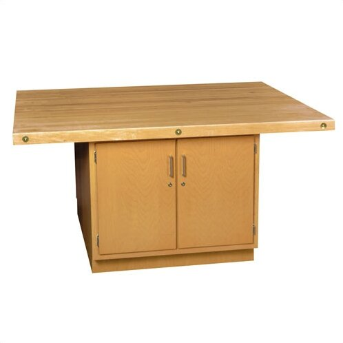 Four Station Wooden Workbench with Two Door Cabinet by Shain