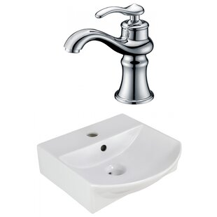Order Ceramic U-Shaped Bathroom Sink with Faucet and Overflow ByAmerican Imaginations