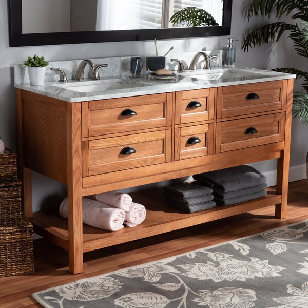 Commander Farmhouse Country Wood and Marble 60 Double Sink Bathroom Vanity