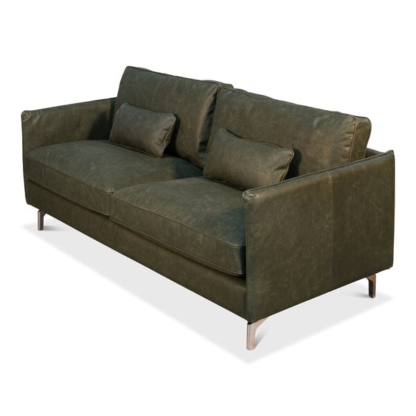 Riceboro Leather Sofa by Foundry Select
