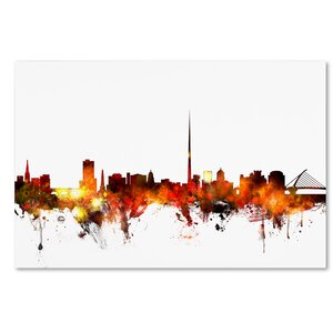 'Dublin Ireland Skyline Red' Graphic Art on Wrapped Canvas by Ivy Bronx