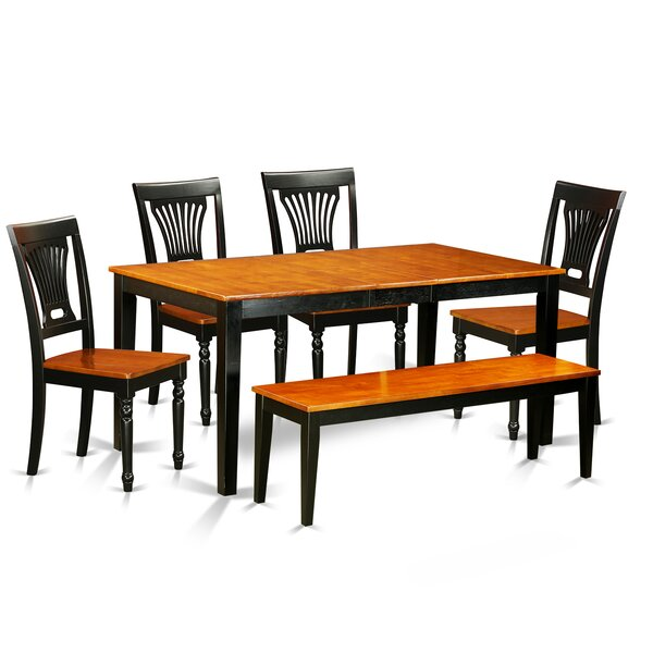 Cleobury 6 Piece Rubberwood Dining Set by August Grove