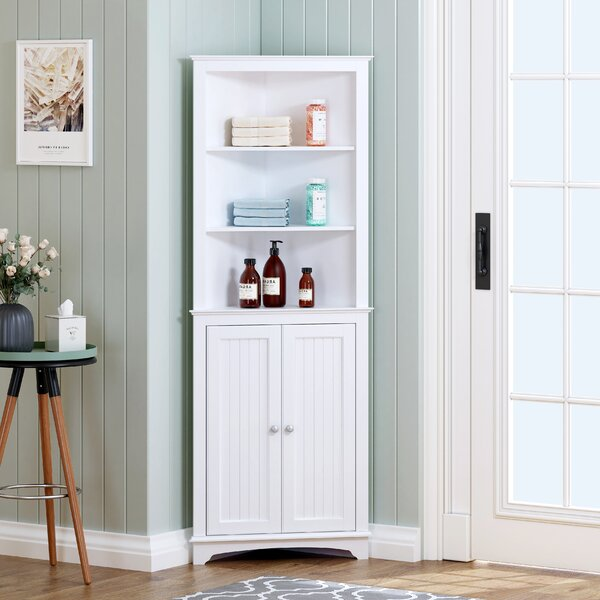 Rosecliff Heights Wagstaff Tall Corner Cabinet With Two Doors And Three Tier Shelves Free Standing Corner Storage Cabinet For Bathroom Kitchen Living Room Or Bedroom White Wayfair Ca