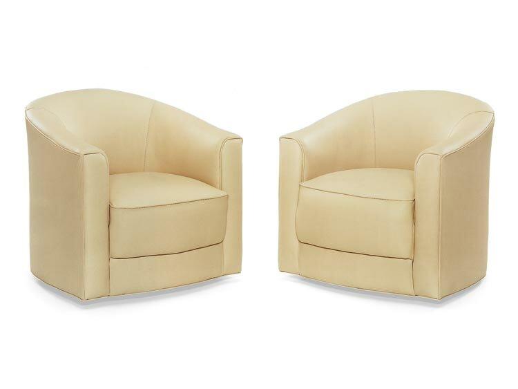 Romneus Swivel Barrel Chair By Leathercraft