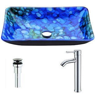 Best Reviews Voce Glass Rectangular Vessel Bathroom Sink with Faucet By ANZZI