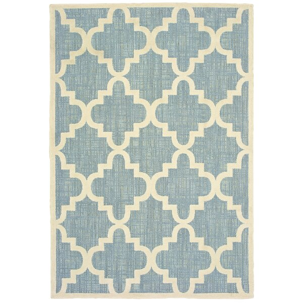 Salguero Lattice Blue/Ivory Indoor/Outdoor Area Rug by Charlton Home