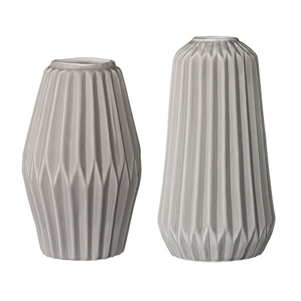 Reuben 2 Piece Ceramic Fluted Vase Set by Langley Street