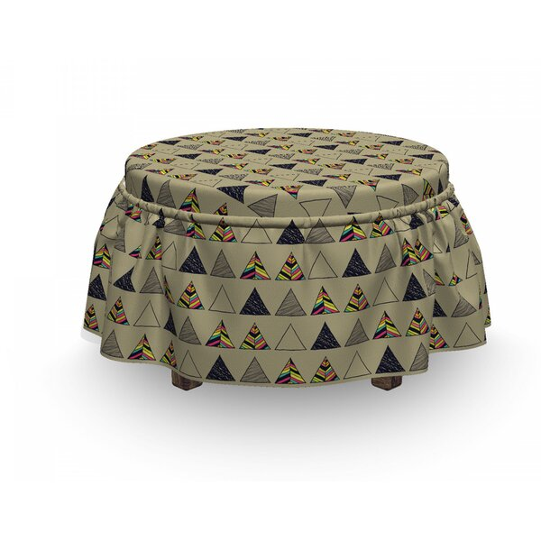 Grunge Horizontal Retro Motifs 2 Piece Box Cushion Ottoman Slipcover Set By East Urban Home