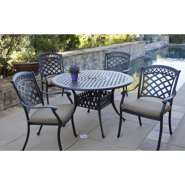 Bucyrus 5 Piece Dining Set with Cushions by Fleur De Lis Living