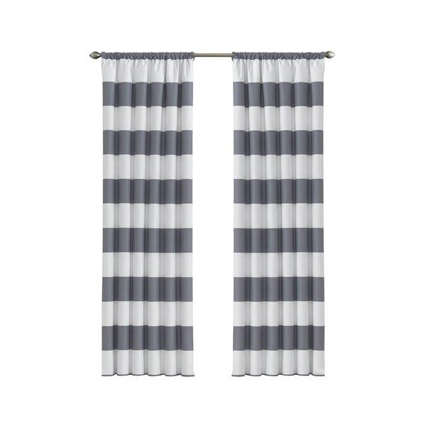 Jameson Striped Blackout Thermal Rod Pocket Single Curtain Panel by Viv + Rae