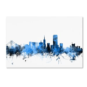 San Francisco City Skyline II by Michael Tompsett Graphic Art on Wrapped Canvas by Trademark Fine Art